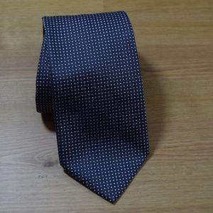 BRIONI Black Silver mini diamonds silk Neck tie